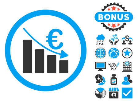 recession: Euro Recession icon with bonus symbols. Vector illustration style is flat iconic bicolor symbols, blue and gray colors, white background.