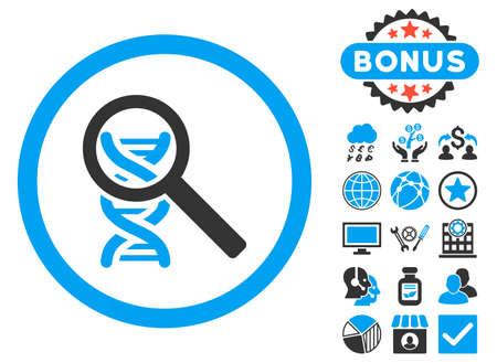 ボーナスのピクトグラムとアイコンを DNA を探る。ベクトル イラストのスタイルは、バイカラー フラット象徴、青と灰色の色、白の背景です。