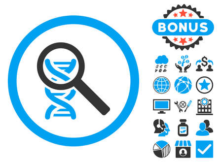 Explore DNA icon with bonus pictogram. Vector illustration style is flat iconic bicolor symbols, blue and gray colors, white background.