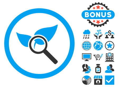 Explore Natural Drugs icon with bonus pictures. Vector illustration style is flat iconic bicolor symbols, blue and gray colors, white background.