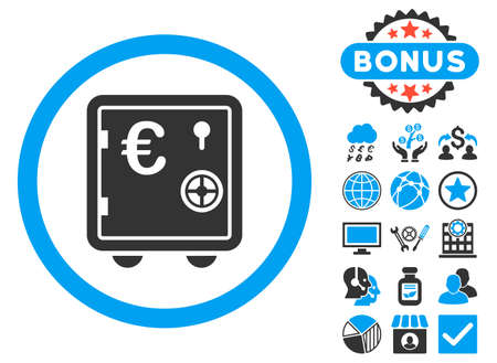 close account: Euro Safe icon with bonus pictures. Vector illustration style is flat iconic bicolor symbols, blue and gray colors, white background. Illustration