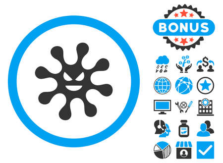 goad: Evil Bacteria icon with bonus pictogram. Vector illustration style is flat iconic bicolor symbols, blue and gray colors, white background.