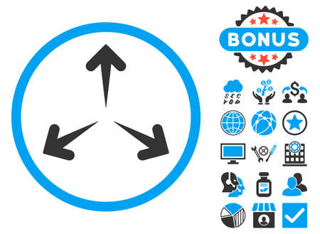 Expand Arrows icon with bonus elements. Vector illustration style is flat iconic bicolor symbols, blue and gray colors, white background.