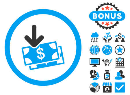 Get Banknotes icon with bonus design elements. Vector illustration style is flat iconic bicolor symbols, blue and gray colors, white background.