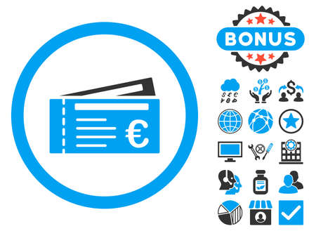 allowed to pass: Euro Tickets icon with bonus pictogram. Vector illustration style is flat iconic bicolor symbols, blue and gray colors, white background. Illustration