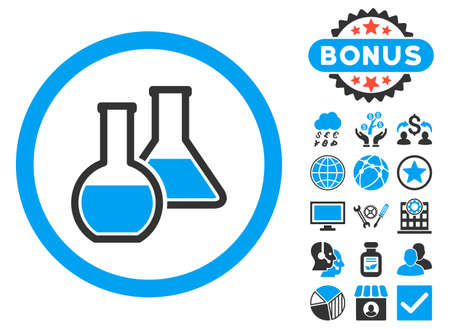 a solution tube: Glass Flasks icon with bonus pictures. Vector illustration style is flat iconic bicolor symbols, blue and gray colors, white background.