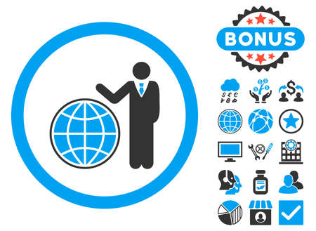 Global Manager icon with bonus pictures. Vector illustration style is flat iconic bicolor symbols, blue and gray colors, white background. Illustration