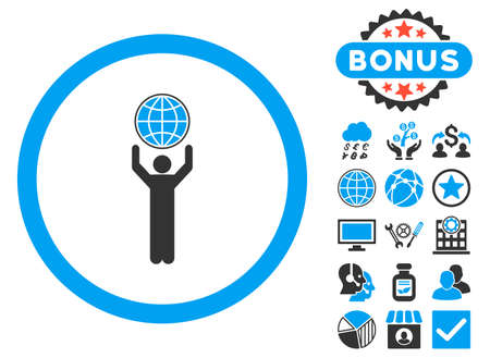 Globalist icon with bonus symbols. Vector illustration style is flat iconic bicolor symbols, blue and gray colors, white background. Illustration