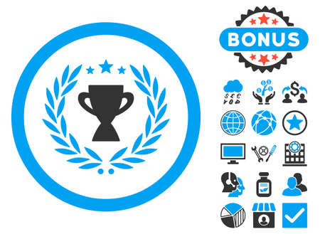 cognizance: Glory icon with bonus images. Vector illustration style is flat iconic bicolor symbols, blue and gray colors, white background.
