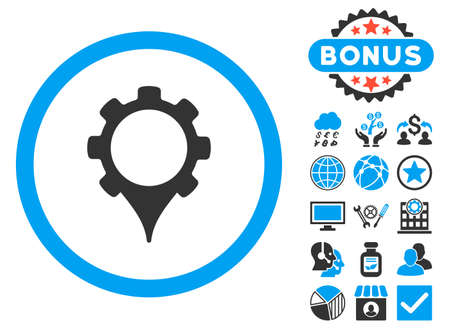 GPS Settings icon with bonus design elements. Vector illustration style is flat iconic bicolor symbols, blue and gray colors, white background.
