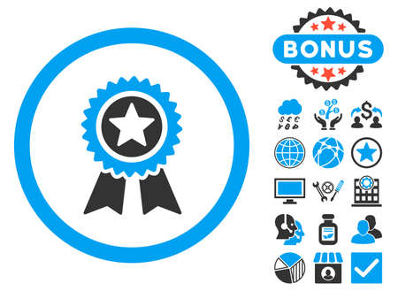 Guarantee icon with bonus symbols. Vector illustration style is flat iconic bicolor symbols, blue and gray colors, white background.