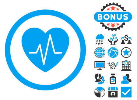 heart ekg trace: Heart Ekg icon with bonus design elements. Vector illustration style is flat iconic bicolor symbols, blue and gray colors, white background.