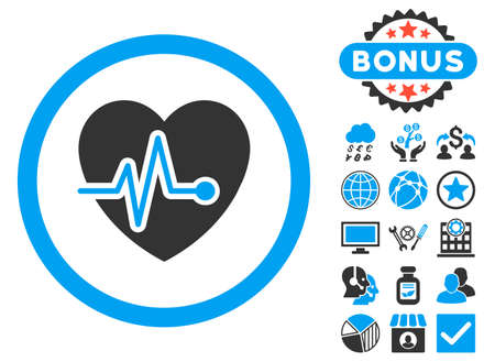 Heart Pulse icon with bonus design elements. Vector illustration style is flat iconic bicolor symbols, blue and gray colors, white background. Illustration