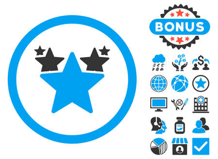 medal like: Hit Parade icon with bonus symbols. Vector illustration style is flat iconic bicolor symbols, blue and gray colors, white background. Illustration