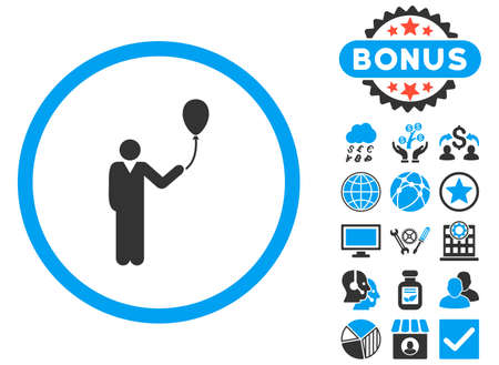 promenade: Holiday icon with bonus pictures. Vector illustration style is flat iconic bicolor symbols, blue and gray colors, white background.