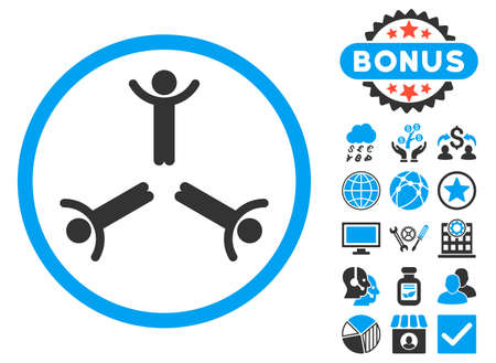 public figure: Hands Up Men icon with bonus symbols. Vector illustration style is flat iconic bicolor symbols, blue and gray colors, white background.