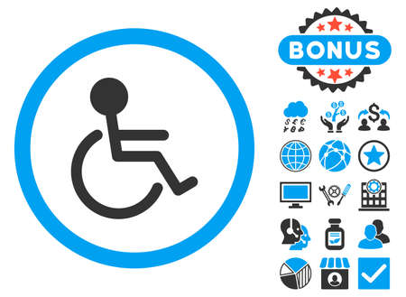 Handicapped icon with bonus pictures. Vector illustration style is flat iconic bicolor symbols, blue and gray colors, white background. Illustration