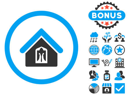 Home icon with bonus design elements. Vector illustration style is flat iconic bicolor symbols, blue and gray colors, white background. Illustration