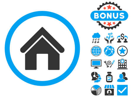 Home icon with bonus images. Vector illustration style is flat iconic bicolor symbols, blue and gray colors, white background.