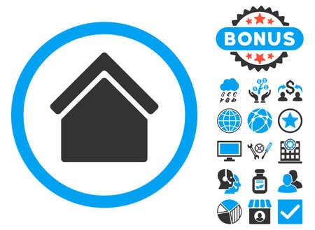 Home icon with bonus pictures. Vector illustration style is flat iconic bicolor symbols, blue and gray colors, white background.