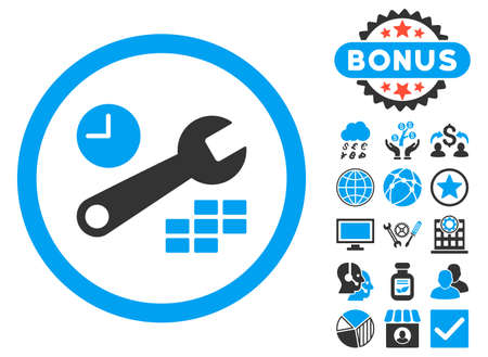 Date and Time Configuration icon with bonus pictures. Glyph illustration style is flat iconic bicolor symbols, blue and gray colors, white background.