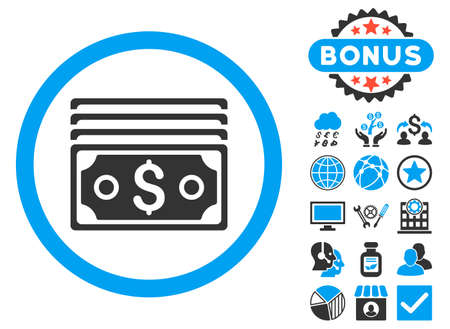 banknotes: Dollar Banknotes icon with bonus pictogram. Glyph illustration style is flat iconic bicolor symbols, blue and gray colors, white background.