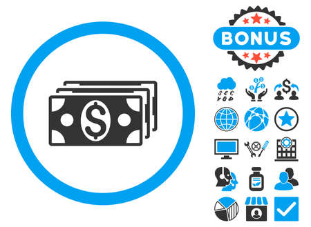 banknotes: Dollar Banknotes icon with bonus design elements. Glyph illustration style is flat iconic bicolor symbols, blue and gray colors, white background. Stock Photo