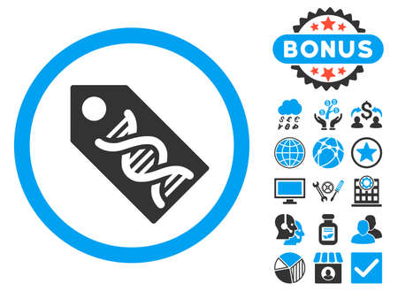 decode: DNA Marker icon with bonus symbols. Glyph illustration style is flat iconic bicolor symbols, blue and gray colors, white background. Stock Photo