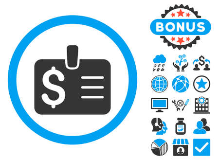 Dollar Badge icon with bonus pictures. Glyph illustration style is flat iconic bicolor symbols, blue and gray colors, white background. Stock Photo