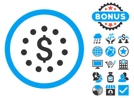 dollar sign icon: Dollar Sign icon with bonus pictures. Glyph illustration style is flat iconic bicolor symbols, blue and gray colors, white background. Stock Photo