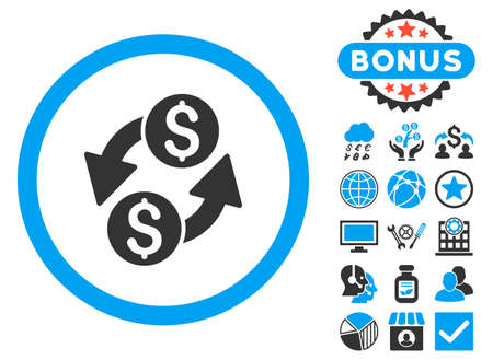 bank activities: Dollar Exchange icon with bonus images. Glyph illustration style is flat iconic bicolor symbols, blue and gray colors, white background. Stock Photo