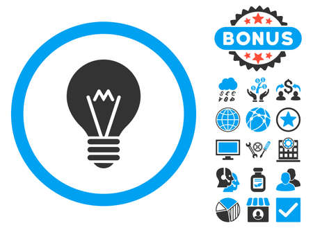 electric bulb: Electric Bulb icon with bonus pictures. Glyph illustration style is flat iconic bicolor symbols, blue and gray colors, white background. Stock Photo