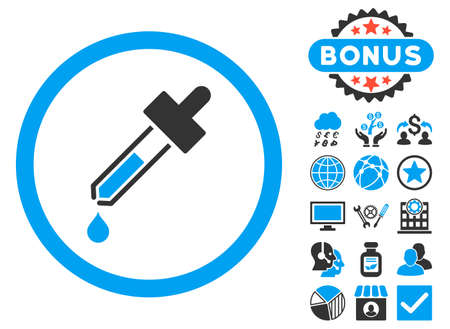 dropper: Dropper icon with bonus symbols. Glyph illustration style is flat iconic bicolor symbols, blue and gray colors, white background.
