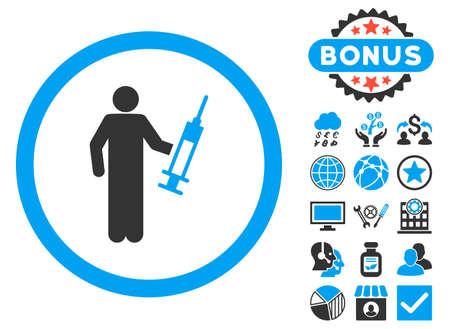 drug dealer: Drug Dealer icon with bonus images. Glyph illustration style is flat iconic bicolor symbols, blue and gray colors, white background. Stock Photo