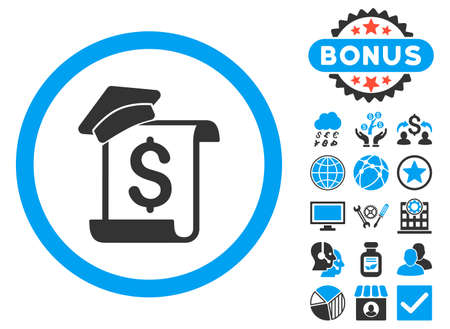 Education Invoice icon with bonus pictogram. Glyph illustration style is flat iconic bicolor symbols, blue and gray colors, white background. Stock Photo