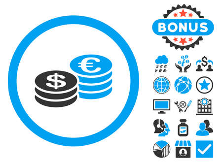 Euro and Dollar Coins icon with bonus elements. Glyph illustration style is flat iconic bicolor symbols, blue and gray colors, white background.