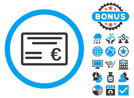 Euro Cheque icon with bonus symbols. Glyph illustration style is flat iconic bicolor symbols, blue and gray colors, white background.