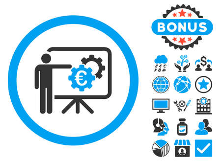 presentaion: Euro Business Project Presentation icon with bonus symbols. Glyph illustration style is flat iconic bicolor symbols, blue and gray colors, white background.