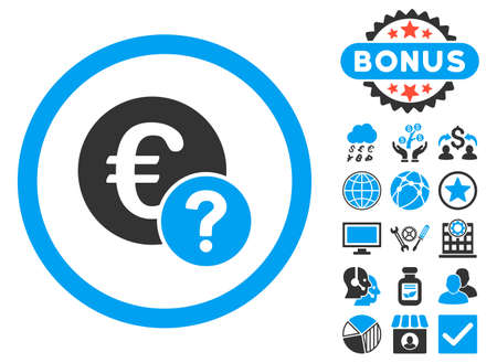 trading questions: Euro Status icon with bonus pictures. Glyph illustration style is flat iconic bicolor symbols, blue and gray colors, white background. Stock Photo