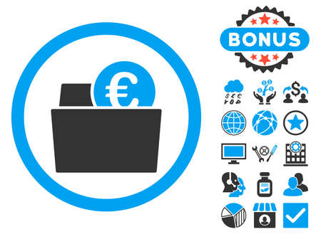 billfold: Euro Wallet icon with bonus symbols. Glyph illustration style is flat iconic bicolor symbols, blue and gray colors, white background.