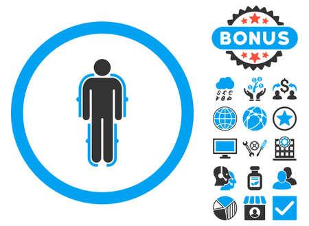 exoskeleton: Exoskeleton icon with bonus elements. Glyph illustration style is flat iconic bicolor symbols, blue and gray colors, white background. Stock Photo