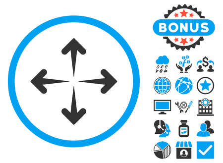 Expand Arrows icon with bonus pictogram. Glyph illustration style is flat iconic bicolor symbols, blue and gray colors, white background.