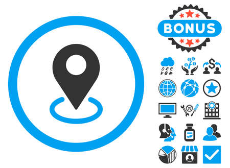 Geo Targeting icon with bonus images. Glyph illustration style is flat iconic bicolor symbols, blue and gray colors, white background. Stock Photo