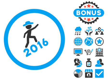 Gentleman Climbing 2016 icon with bonus design elements. Glyph illustration style is flat iconic bicolor symbols, blue and gray colors, white background.