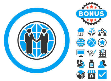global partnership: Global Partnership icon with bonus pictures. Glyph illustration style is flat iconic bicolor symbols, blue and gray colors, white background.