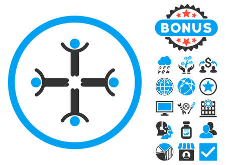 public figure: Hands Up Men icon with bonus pictogram. Glyph illustration style is flat iconic bicolor symbols, blue and gray colors, white background.