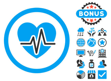 health care analytics: Heart Diagram icon with bonus design elements. Glyph illustration style is flat iconic bicolor symbols, blue and gray colors, white background. Stock Photo