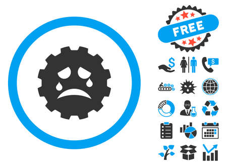 terrified: Gear Tears Smiley icon with bonus elements. Vector illustration style is flat iconic bicolor symbols, blue and gray colors, white background.