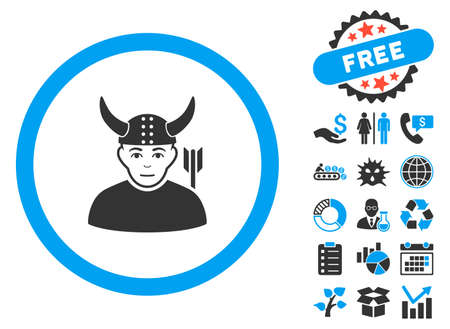 ancient warrior: Horned Ancient Warrior icon with bonus clip art. Vector illustration style is flat iconic bicolor symbols, blue and gray colors, white background.