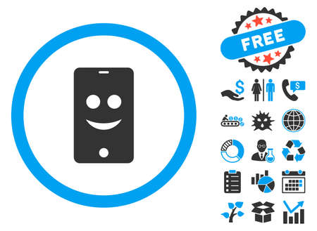 Mobile Phone Smile icon with bonus pictogram. Vector illustration style is flat iconic bicolor symbols, blue and gray colors, white background.